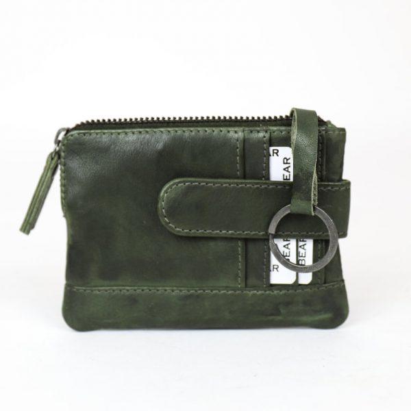 Groene croco portemonnee met voorvak